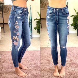 AEO Spring Embroidered Botanical high waist skinny